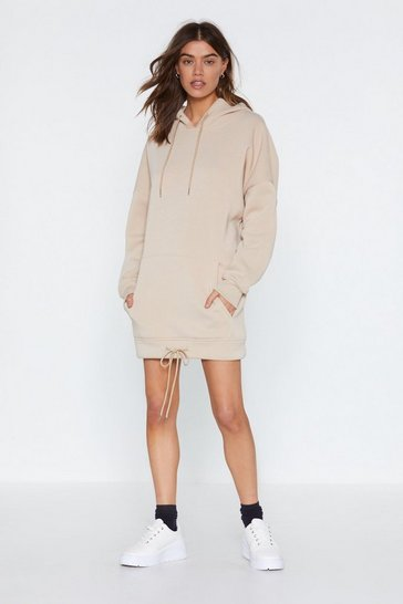 Womens Beige As Easy As That  Hoodie Dress