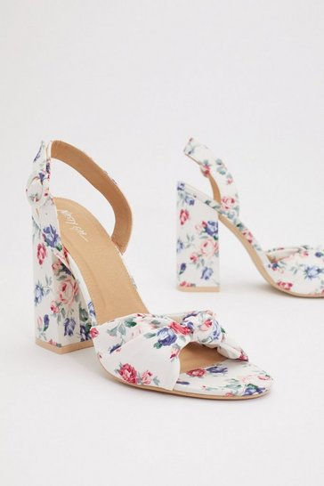 Womens White Knot More Florals Heeled Sandals