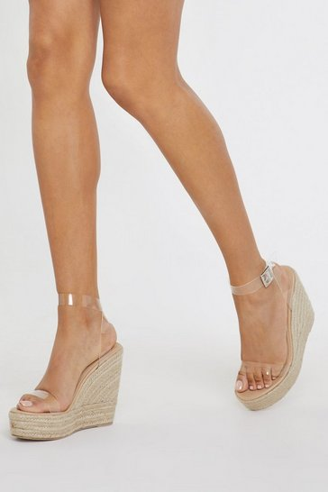 Stand Clear Espadrille Clear Wedges