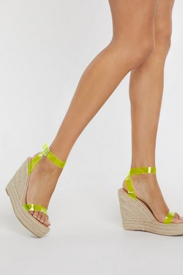 Womens Yellow Stand Clear Espadrille Clear Wedges