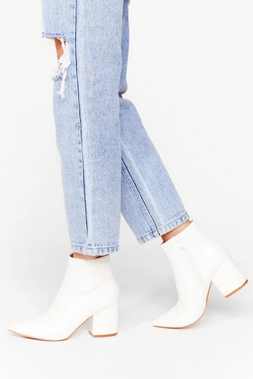 White Pointed Block Heel Ankle Boots