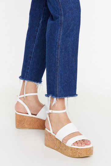 Womens White Cork Flatform Sandals