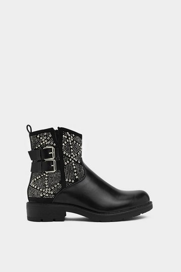Womens Black Stud Be Love Biker Boot