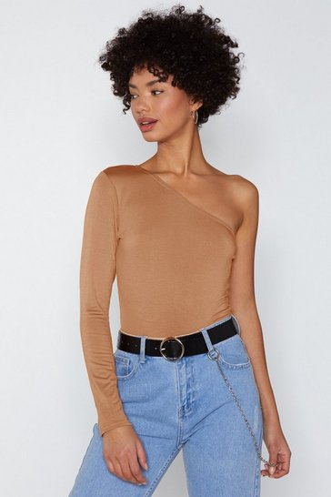 One-Up 'Em One Shoulder Bodysuit, Camel, FEMMES