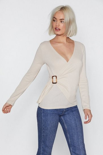 Womens Stone Power Wraps Knit Top