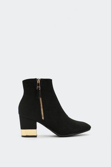 Womens Black Making Money Moves Ankle Boot