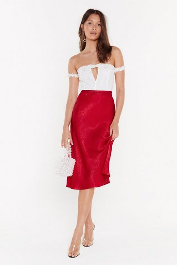 Red Just My Type Satin Midi Skirt