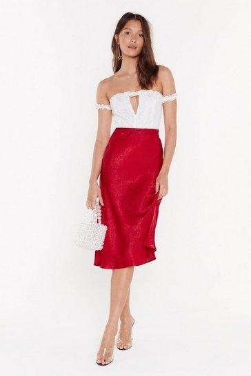 Red Just My Type Satin Midi Skirt