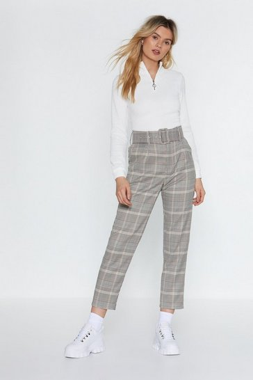 Womens Black Hit Top Gear Belted Check Pants