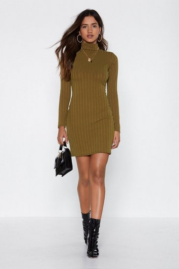 Womens Olive High Fever Ribbed Dress