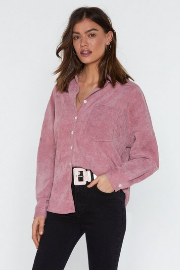 Womens Pink Corduroy Relaxed Shirt