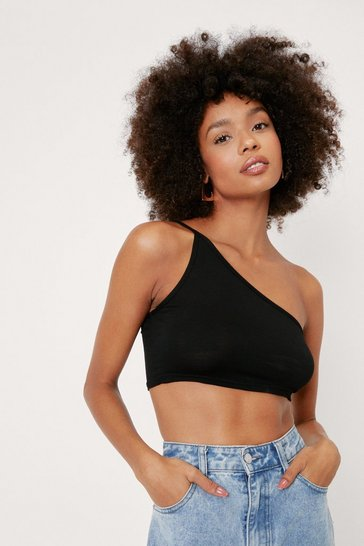Womens Black Get on Their Good Side One Shoulder Crop Top