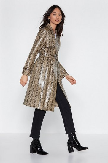 Womens Natural Beware of Snakes Trench Coat