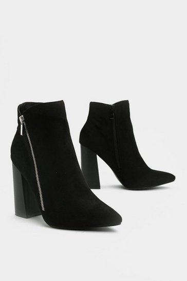 Womens Black Couldn't Flare Less Heeled Boot