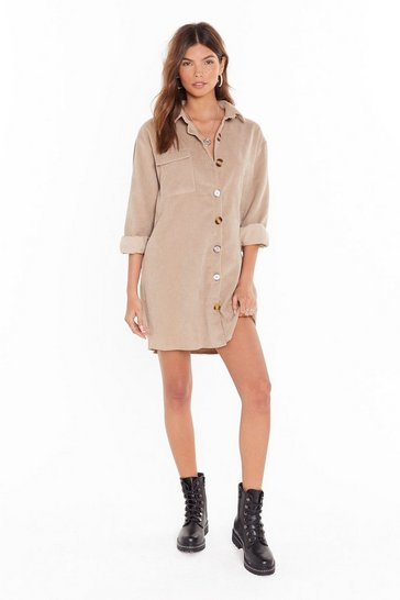 Stone Button Down Corduroy Shirt Dress