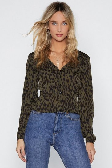 Womens Khaki Get a Claw Deal Leopard Top