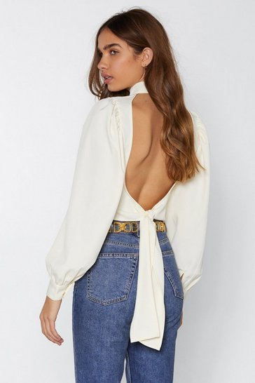 Cream Be Right Back Tie Blouse