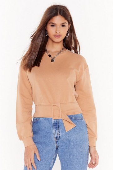 Womens Caramel Casual But Make It Fashion Belted Jumper