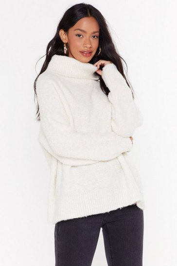 Womens Cream Oversize Up the Competition Turtleneck Sweater
