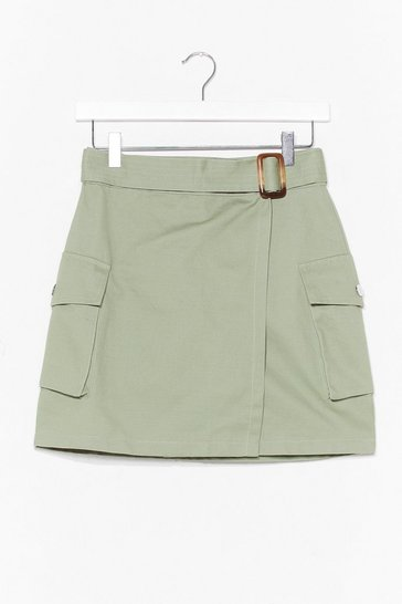 Sage Wrap City Mini Skirt