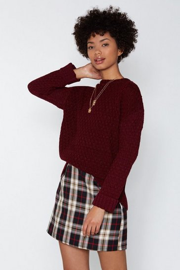 Womens Burgundy You Started Knit Cable Jumper