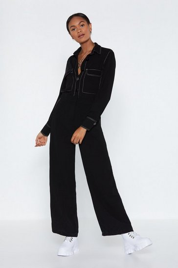 Womens Black An Absolute Stitch Wide-Leg Jumpsuit