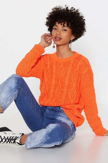 Womens Orange Neon Cable Knit Jumper