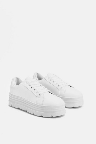 Womens White Gotta Lot of Sole Chunky Sneaker