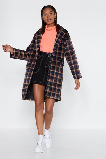 Womens Blue Hit the Check Longline Coat