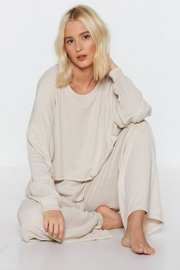 Stone Ribbed Lounge Sweatshirt with Crew Neckline