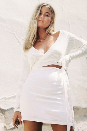 Cream Ribbed Wrap Knit Sweater