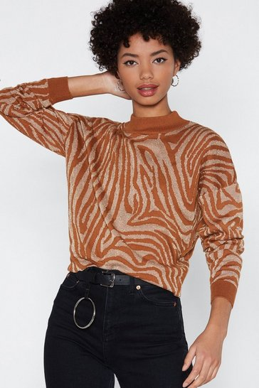 Womens Tan If Luxe Could Kill Zebra Jumper