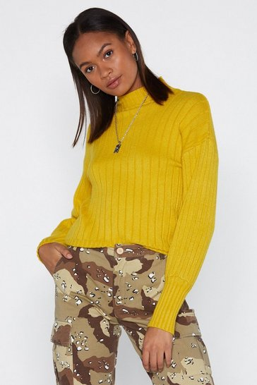 Womens Chartreuse Rib 'Em Over Sweater