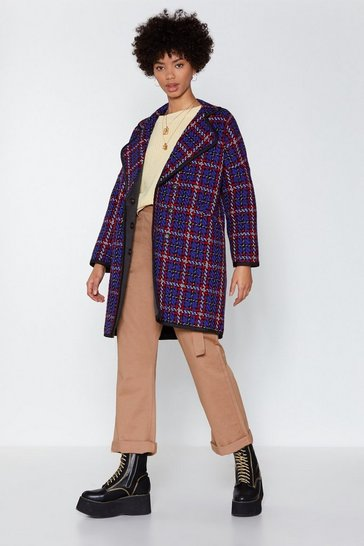 Womens Blue Stand Out from the Crowd Check Coat