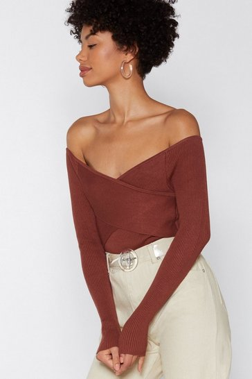 Womens Tobacco Cross Me Out Off-the-Shoulder Sweater