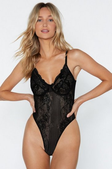 Black V Neck Lace High Leg Thong Bodysuit