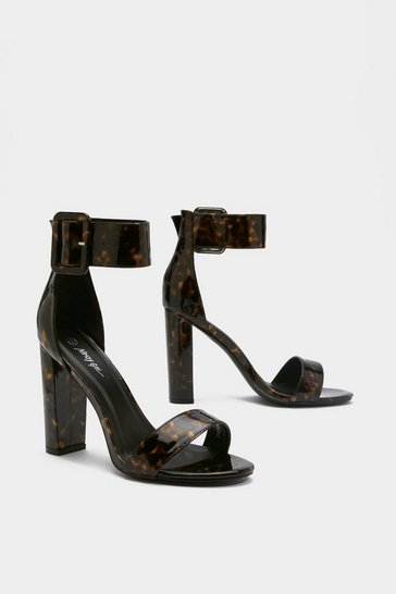 Womens Brown One Shell of a Time Tortoiseshell Buckle Heels