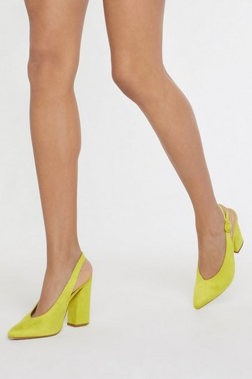 Womens Neon Lime Sling Back Flare Block Heel