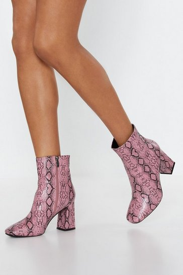 Womens Lilac Snake Your Way Faux Leather Ankle Boots