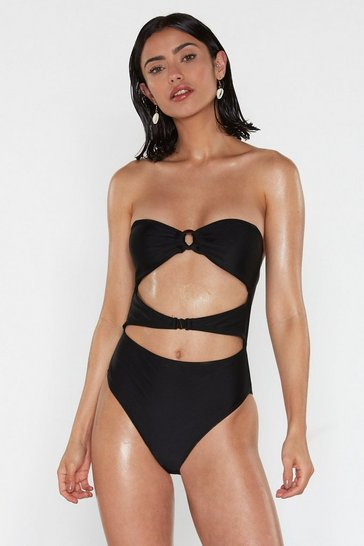 Womens Black Life's a Beach Cut-Out Swimsuit