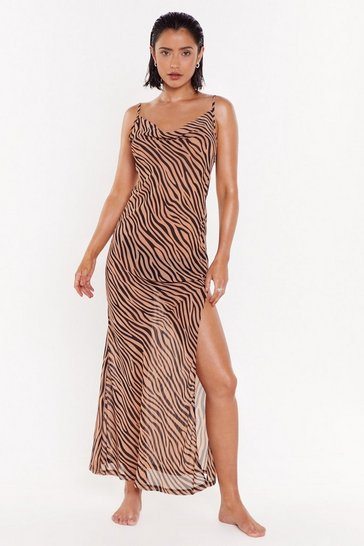 Tan Herd It All Before Zebra Cover-Up Dress