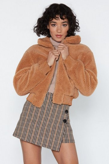 Womens Camel Make a Break Fur It Faux Fur Jacket