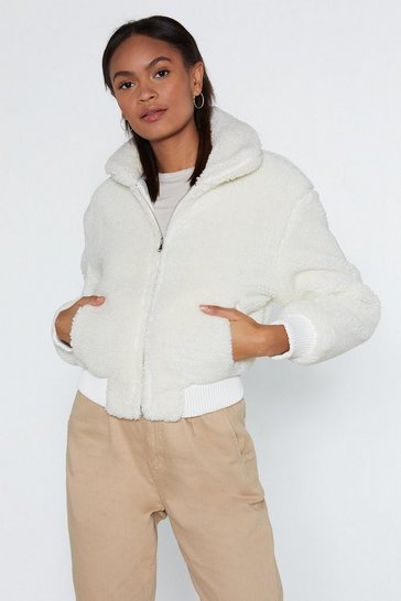 Womens White Make a Break Fur It Faux Fur Jacket