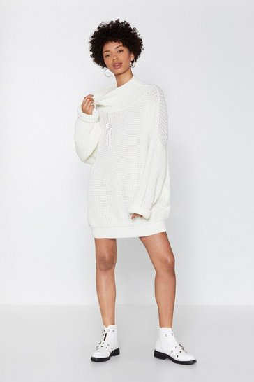 Womens Cream Everything's Jumper in Knit Oversized Dress