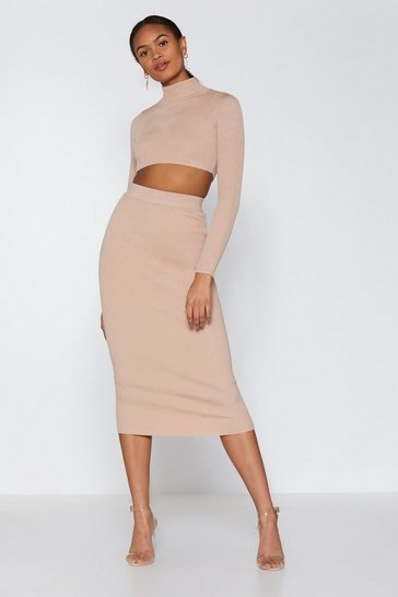 Womens Nude My High Neck My Back Top and Midi Skirt