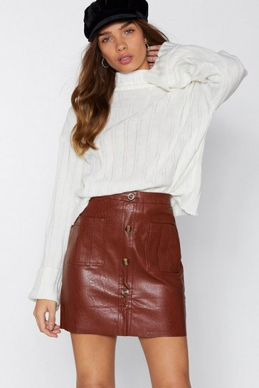 Womens Brown Mini By Mini Faux Leather Skirt