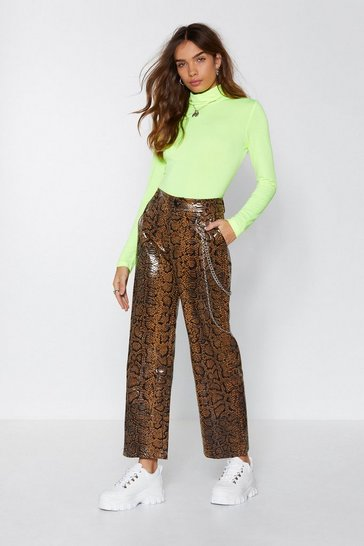 Womens Brown Hiss Independent Snake Trousers