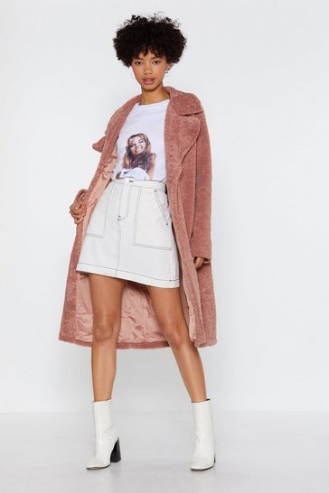 Womens Pink Fur-get Me Not Faux Fur Coat