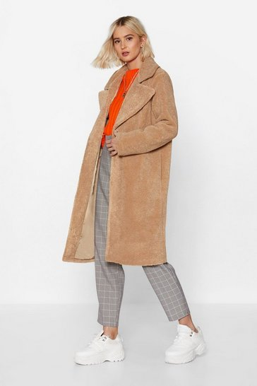 Womens Beige Fur-get Me Not Faux Fur Coat