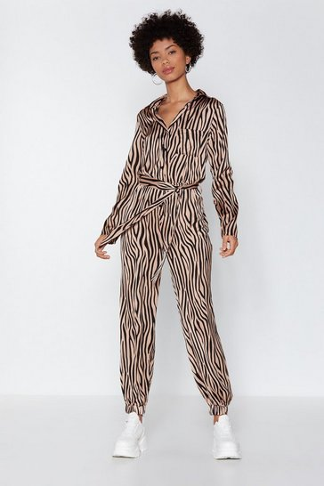 Womens Nude It's Not All Black and White Zebra Boilersuit